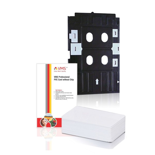 VMS PVC Card Tray for Epson Printers  + VMS Professional PVC Card Without Chip - (50 Cards)