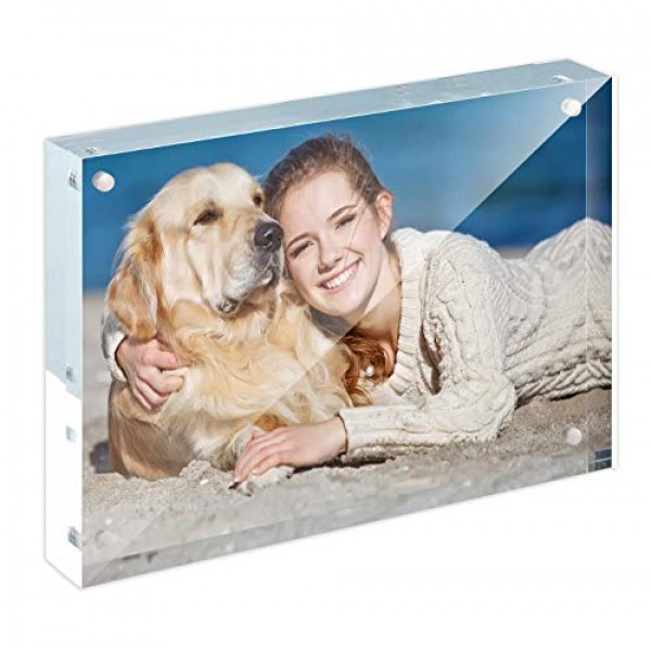 Full Colors Acrylic Frame Solution - Frameless Premium Crystal-Clear Acrylic Block, Magnetic Picture Frame - Single Side to Display Photos and Cards(121x178mm)