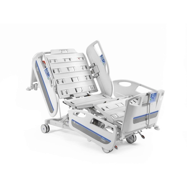 Malvestio GAMMA3 Fully Motorized ICU Bed With Removable Polymer Head & Foot Bow with polymer side railing Hospital ELECTRIC BED (MS Collapsible Side Railing)