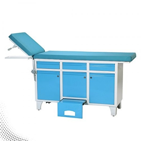 VMS Patient Examination Couch With Head Adjustment and Cabinets Drawers