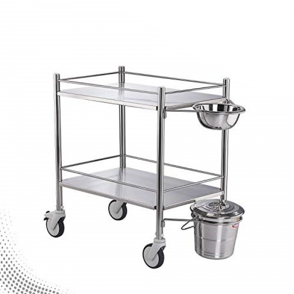 VMS Dressing Trolley SS Framework and SS Shelves With SS Bowl & Bucket
