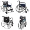 VMS Careline Comfort Foldable Wheelchair + VMS Adjustable Bedside Table with Two Section Laminated Board Top