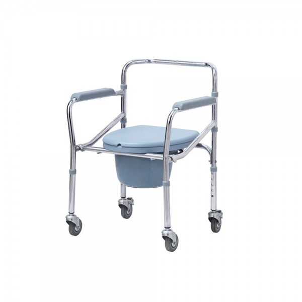 VMS Careline Standard Foldable Commode Wheelchair with Long Bucket and Splash Guard