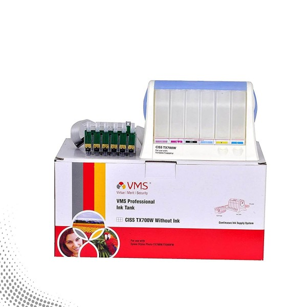VMS Professional CISS Empty Tank for Epson Printers (Black, Magenta, Light Megent, Cyan, Light Cyan, Yellow) Without Ink