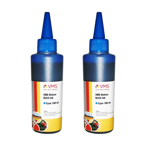 VMS Deluxe Cyan Refill Ink for HP, EPSON and All Inkjet Printers 100 ML (Pack of 2)