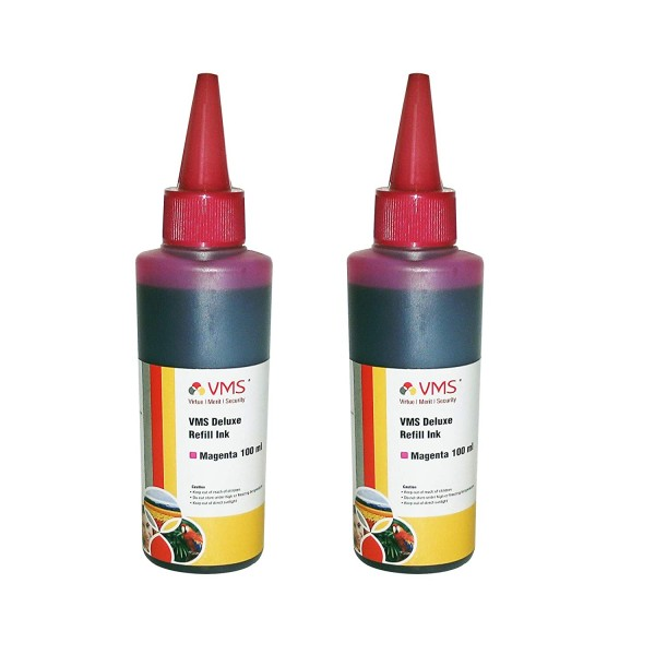 VMS Deluxe Magenta Refill Ink for HP, EPSON and All Inkjet Printers 100 ML (Pack of 2)