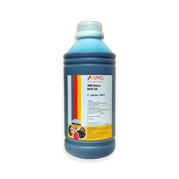 VMS Deluxe Light Cyan Refill Ink for HP, EPSON and All Inkjet Printers 1000 ML