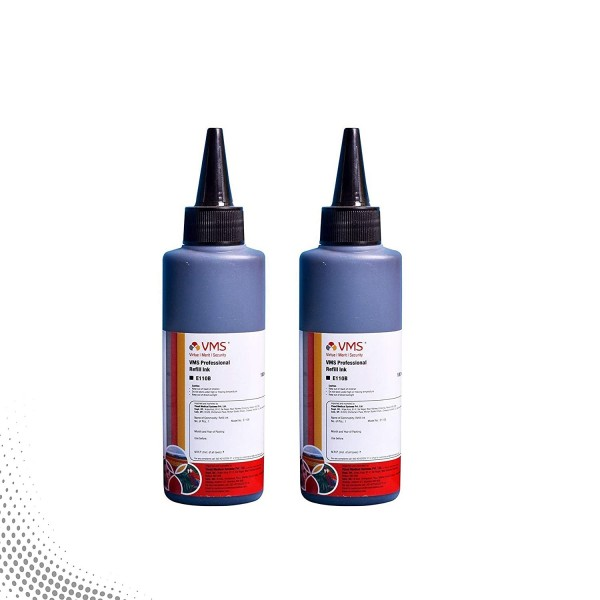 VMS Professional Black Refill Ink for HP, EPSON and All Inkjet Printers 100 ML (Pack of 2)