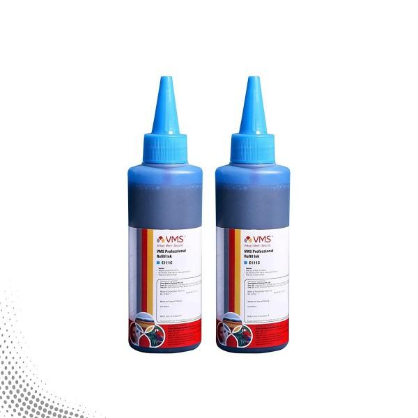 VMS Professional Cyan Refill Ink for HP, EPSON and All Inkjet Printers 100 ML (Pack of 2)