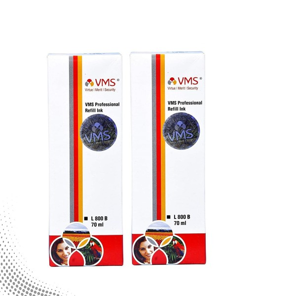 VMS Professional Black Refill Ink for HP, EPSON and All Inkjet Printers 70 ML (Pack of 2)