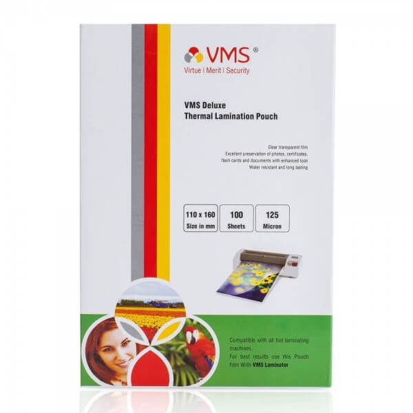 VMS Deluxe Thermal Lamination Pouch 110x160 mm 125 Micron