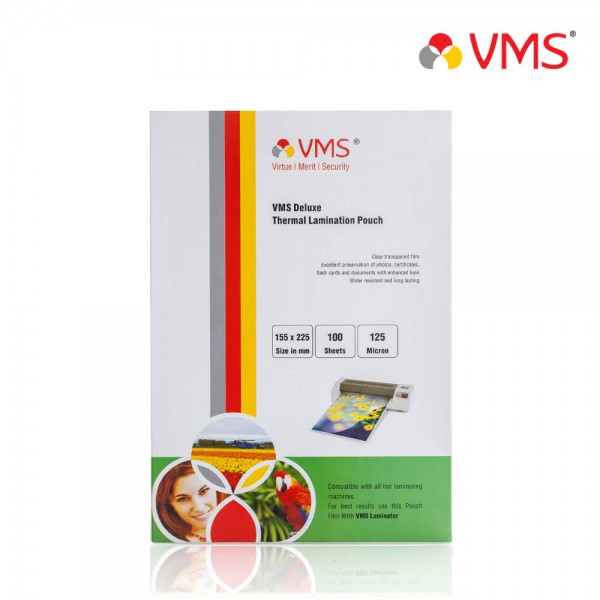 VMS Deluxe 155 x 225mm 125 Micron Thermal Lamination Pouch
