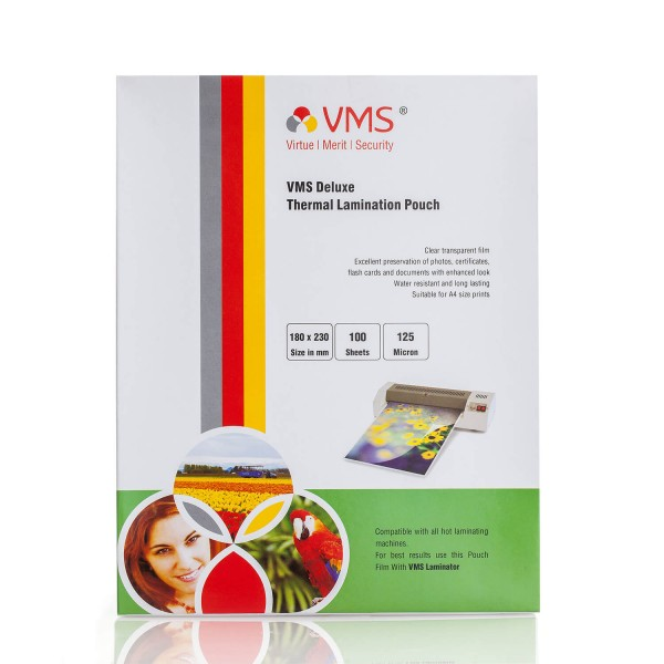 VMS Deluxe 180 x 230mm 125 Micron Thermal Lamination Pouch - Pack of 4