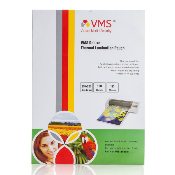 VMS Deluxe 210 x 260mm 125 Micron Thermal Lamination Pouch - Pack of 4