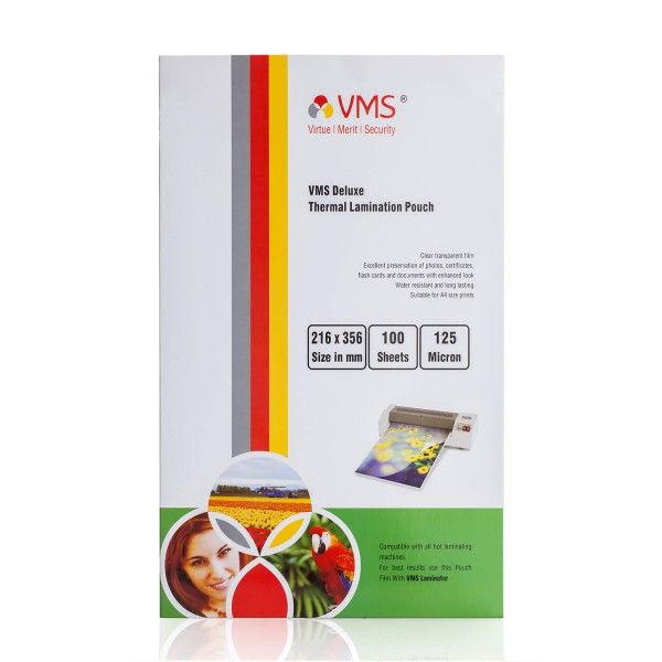 VMS Deluxe 216 x 356mm 125 Micron Thermal Lamination Pouch