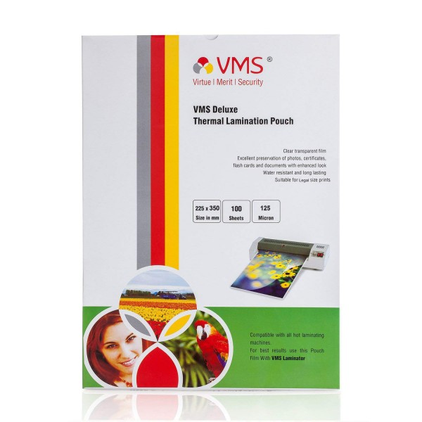 VMS Deluxe 225x350 mm Thermal Lamination Pouch 125 Micron
