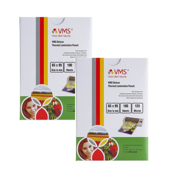 VMS Deluxe  65 x 95mm 125 Micron Thermal Lamination Pouch - Pack of 2