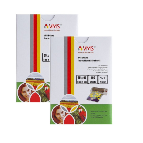 VMS Deluxe 65 x 95mm 175 Micron Thermal Lamination Pouch - Pack of 2
