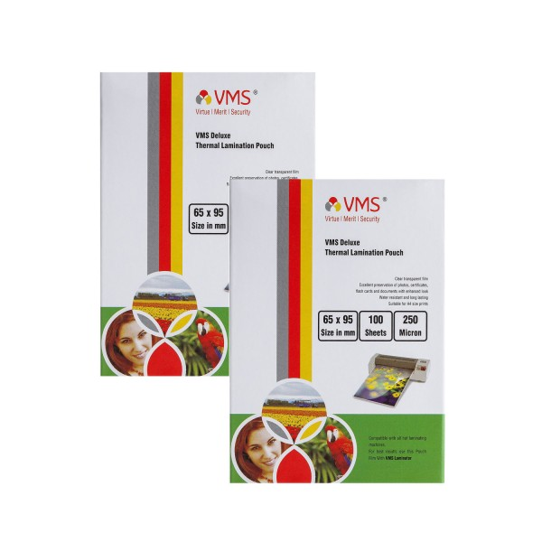 VMS Deluxe 65 x 95mm 250 Micron Thermal Lamination Pouch - Pack of 2