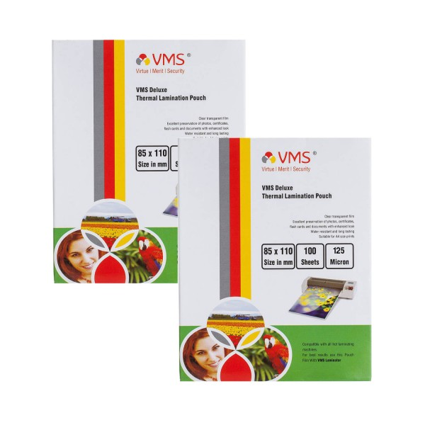 VMS Deluxe 85 x 110mm 125 Micron Thermal Lamination Pouch - Pack of 2