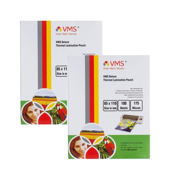 VMS Deluxe 85 x 110mm 175 Micron Thermal Lamination Pouch - Pack of 2