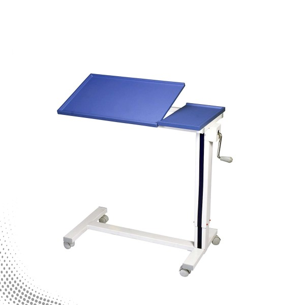 VMS Adjustable Bedside Table with Two Section Laminated Board Top