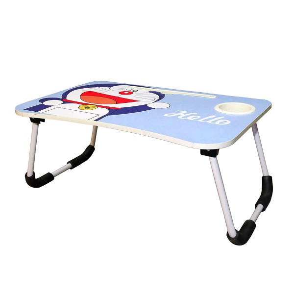 VMS OfficeBuddy Multipurpose Foldable Laptop Table with Cup & Tablet Holder, Ergonomic Study Table, Bed Table or Breakfast Table (Blue Doraemon)