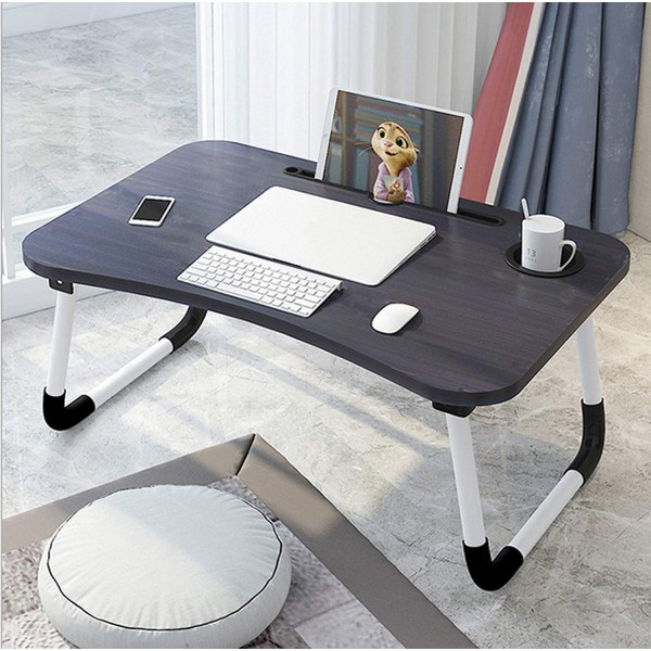 VMS OfficeBuddy Multipurpose Foldable Laptop Table with Cup & Tablet Holder, Ergonomic Study Table, Bed Table or Breakfast Table (Black Wooden)