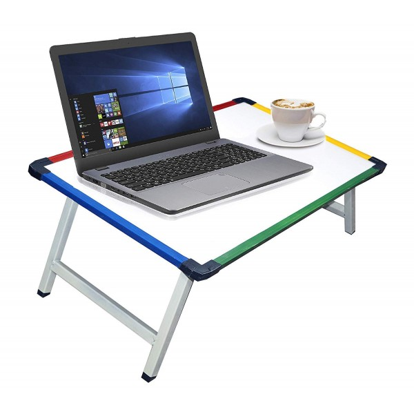 VMS OfficeBuddy Multi Purpose Foldable Laptop Study Writing Bed Breakfast Tray Table for Kids with Whiteboard Paper Holding Clip-(61 x 40.5 x 24 cm)