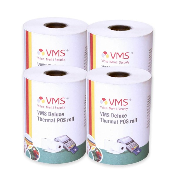 VMS Deluxe Thermal Paper Roll / POS Roll 55mm x 25m (Pack of 4)