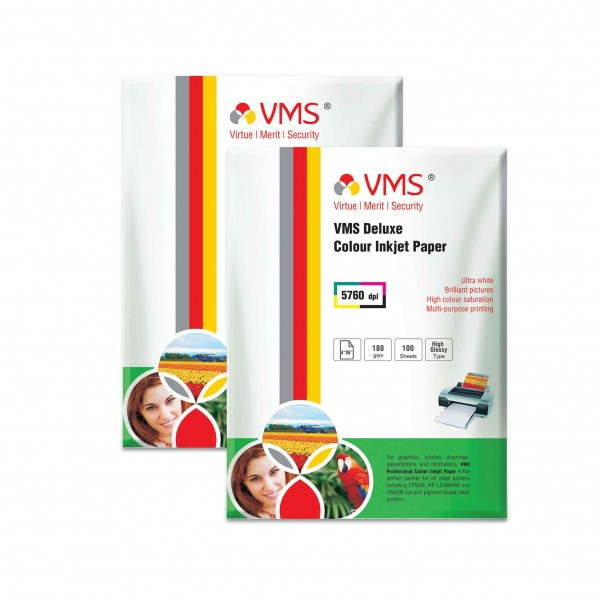 VMS Deluxe 180 GSM 4R Glossy Photo Paper - 2 x 100 Sheets