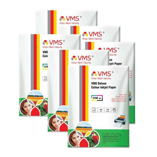 VMS Deluxe 180 GSM 4R Glossy Photo Paper - 6 x 100 Sheets
