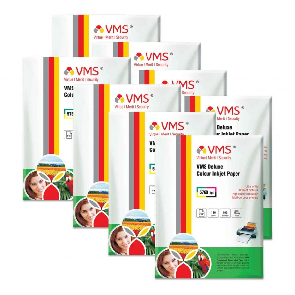 VMS Deluxe 180 GSM 4R Glossy Photo Paper - 8 x 100 Sheets