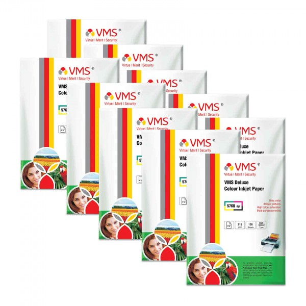 VMS Deluxe 210 GSM 4R Glossy Photo Paper - 10 x 100 Sheets