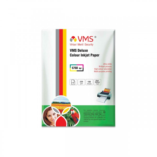 VMS Deluxe 220 GSM 4R Glossy Photo Paper - 100 Sheets