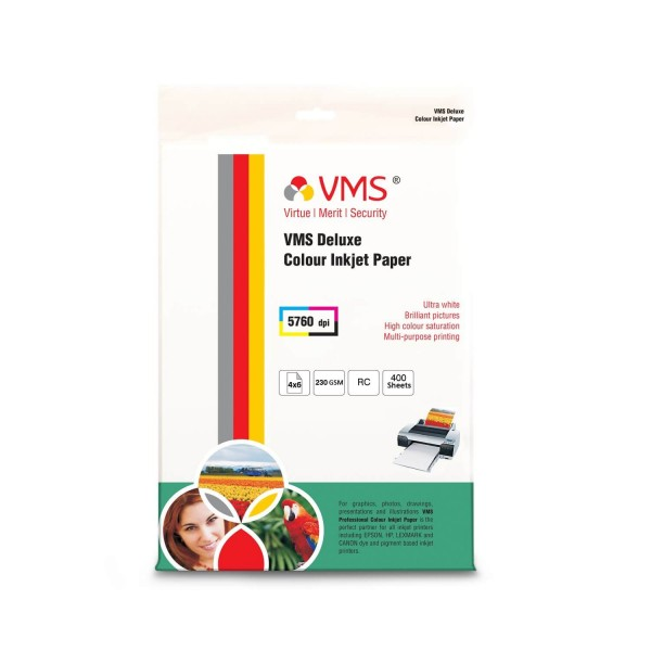 VMS Deluxe 230 GSM 4R Glossy Photo Paper - 400 Sheets