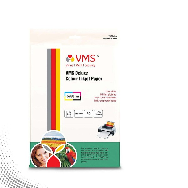 VMS Deluxe 235 GSM 4R Glossy Photo Paper - 100 Sheets
