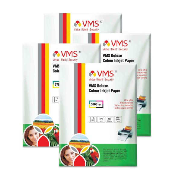 VMS Deluxe 270 GSM 4R Glossy Photo Paper - 4 x 100 Sheets