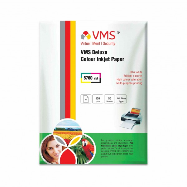 VMS Deluxe 130 GSM A4 Glossy Photo Paper - 50 Sheets