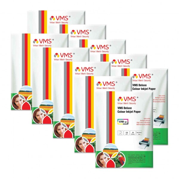 VMS Deluxe 130 GSM A4 Glossy Photo Paper - 10 x 50 Sheets