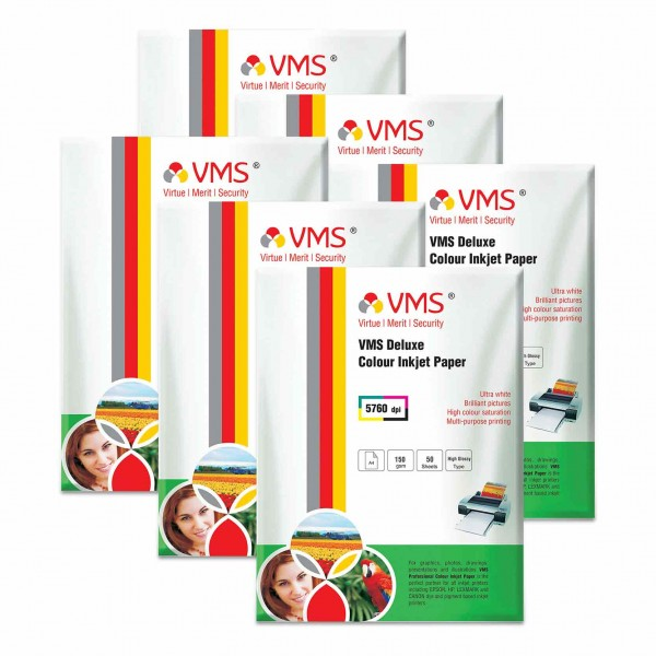 VMS Deluxe 150 GSM A4 Glossy Photo Paper - 6 x 50 Sheets