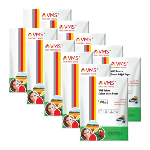 VMS Deluxe 180 GSM A4 Glossy  Photo Paper - 10 x 20 Sheets