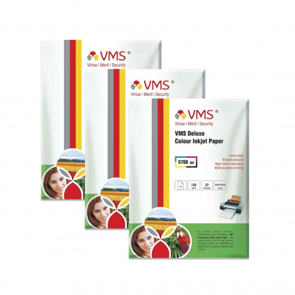 VMS Deluxe 180 GSM A4 Glossy Photo Paper - 3 x 20 Sheets