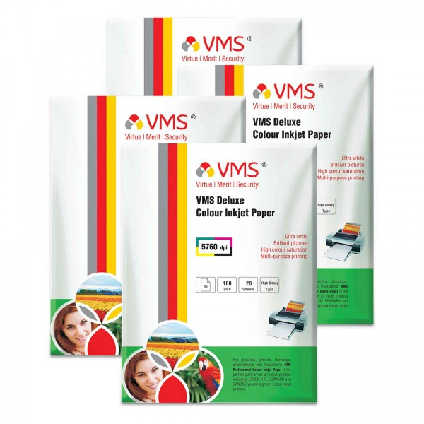 VMS Deluxe 180 GSM A4 Glossy Photo Paper - 4 x 20 Sheets