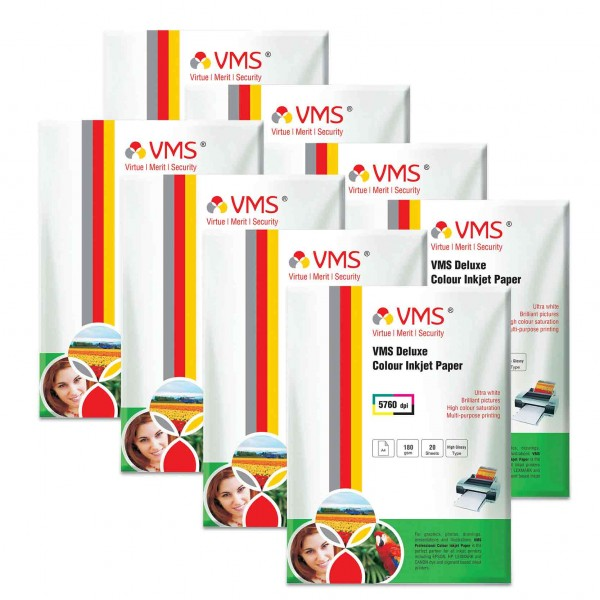 VMS Deluxe 180 GSM A4 Glossy Photo Paper - 8 x 20 Sheets