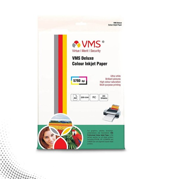 VMS Deluxe 235 GSM A4 Glossy Photo Paper - 20 Sheets