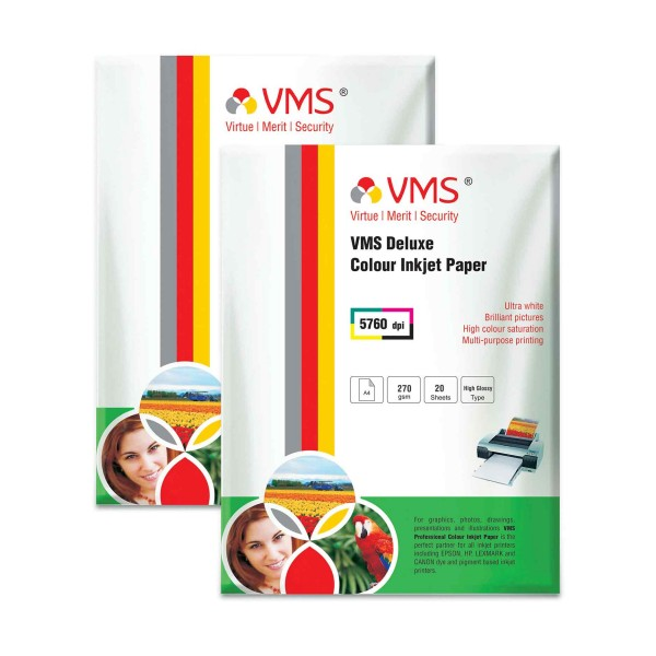 VMS Deluxe 270 GSM A4 Glossy Photo Paper - 2 x 20 Sheets