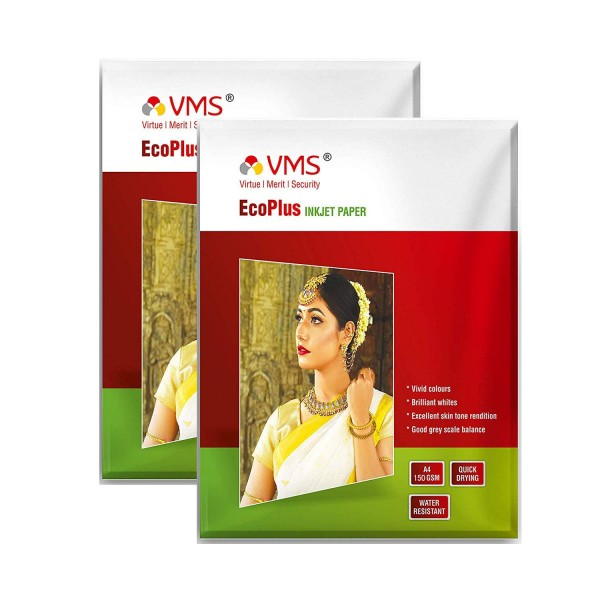 VMS Eco Plus 150 GSM A4 Photo Paper High Glossy (Pack of 2, 40 Sheets)