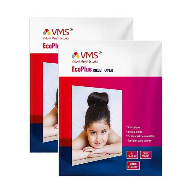 VMS Eco Plus 180 GSM A4 Photo Paper High Glossy - Pack of 2