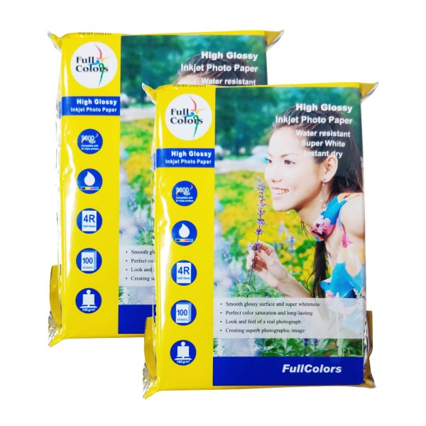 Full Colors Photo Paper 4R 180 GSM High Glossy (Pack of 2)